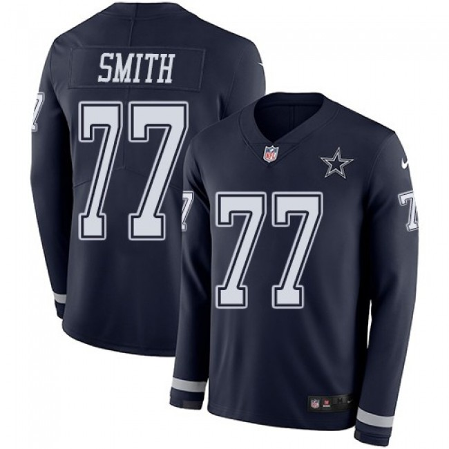 Nike Cowboys #77 Tyron Smith Navy Blue Team Color Men's Stitched NFL Limited Therma Long Sleeve Jersey