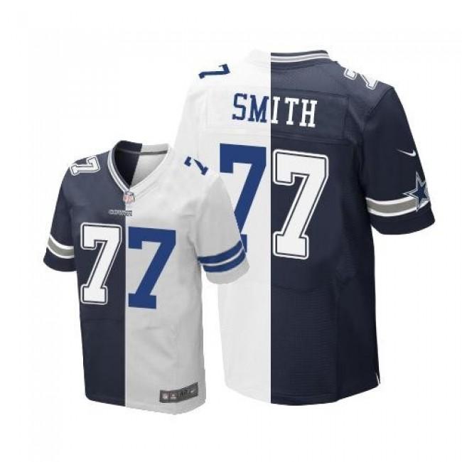 Nike Cowboys #77 Tyron Smith Navy Blue/White Men's Stitched NFL Elite Split Jersey