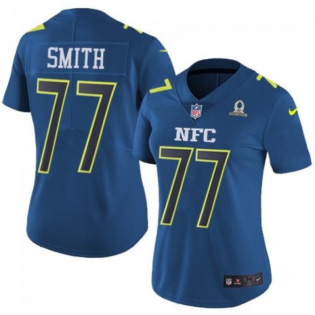 Women's Cowboys #77 Tyron Smith Navy Stitched NFL Limited NFC 2017 Pro Bowl Jersey
