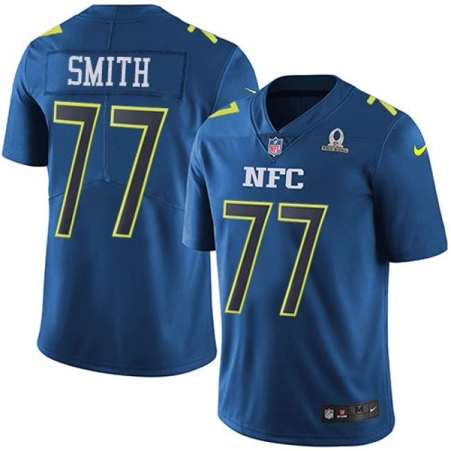 Dallas Cowboys #77 Tyron Smith Navy Youth Stitched NFL Limited NFC 2017 Pro Bowl Jersey