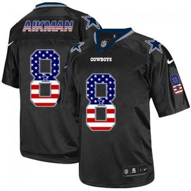 Nike Cowboys #8 Troy Aikman Black Men's Stitched NFL Elite USA Flag Fashion Jersey