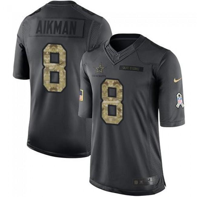 Nike Cowboys #8 Troy Aikman Black Men's Stitched NFL Limited 2016 Salute To Service Jersey