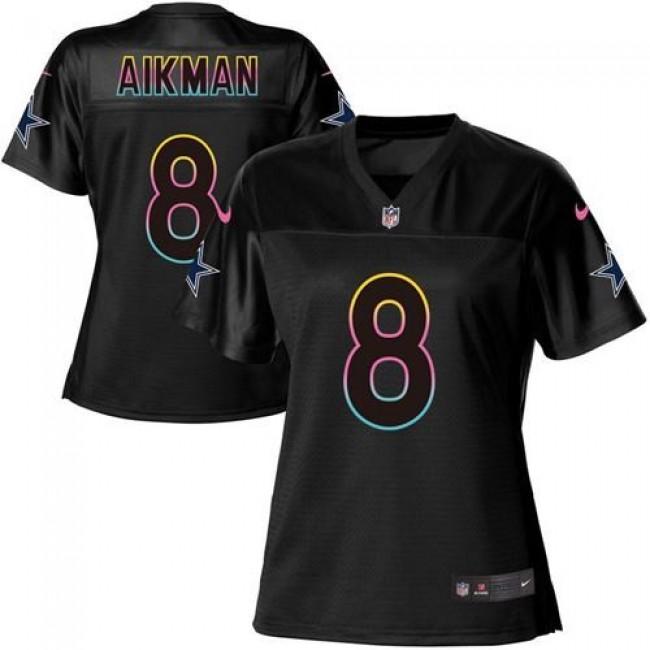 Women's Cowboys #8 Troy Aikman Black NFL Game Jersey