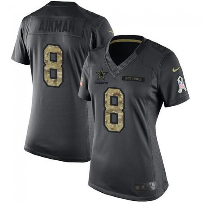 Women's Cowboys #8 Troy Aikman Black Stitched NFL Limited 2016 Salute to Service Jersey