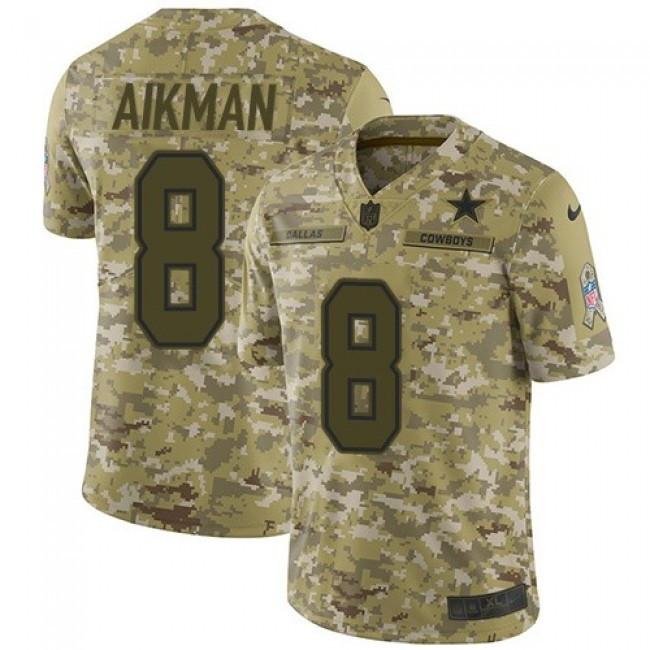 Nike Cowboys #8 Troy Aikman Camo Men's Stitched NFL Limited 2018 Salute To Service Jersey