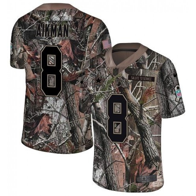 Nike Cowboys #8 Troy Aikman Camo Men's Stitched NFL Limited Rush Realtree Jersey