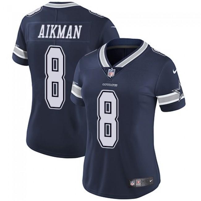 Women's Cowboys #8 Troy Aikman Navy Blue Team Color Stitched NFL Vapor Untouchable Limited Jersey