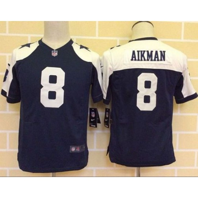 Dallas Cowboys #8 Troy Aikman Navy Blue Thanksgiving Youth Throwback Stitched NFL Elite Jersey