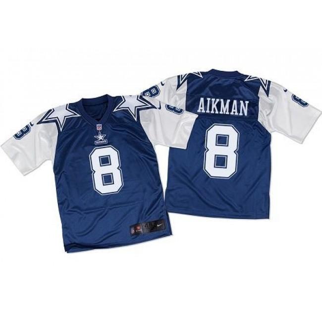 Nike Cowboys #8 Troy Aikman Navy Blue/White Throwback Men's Stitched NFL Elite Jersey