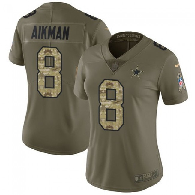 Women's Cowboys #8 Troy Aikman Olive Camo Stitched NFL Limited 2017 Salute to Service Jersey