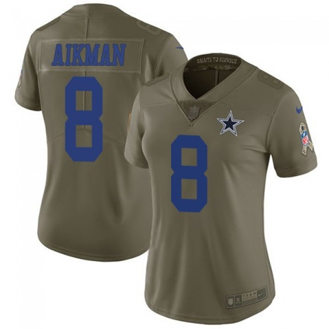 Women's Cowboys #8 Troy Aikman Olive Stitched NFL Limited 2017 Salute to Service Jersey