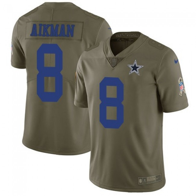 Dallas Cowboys #8 Troy Aikman Olive Youth Stitched NFL Limited 2017 Salute to Service Jersey