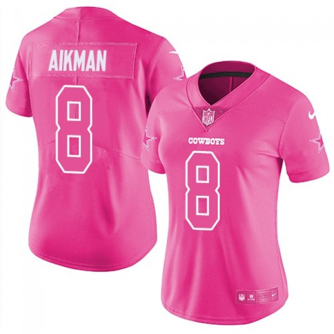Women's Cowboys #8 Troy Aikman Pink Stitched NFL Limited Rush Jersey
