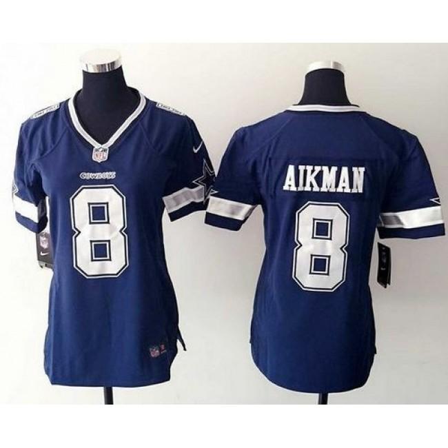 Women's Cowboys #8 Troy Aikman Ware Navy Blue Team Color Stitched NFL Elite Jersey