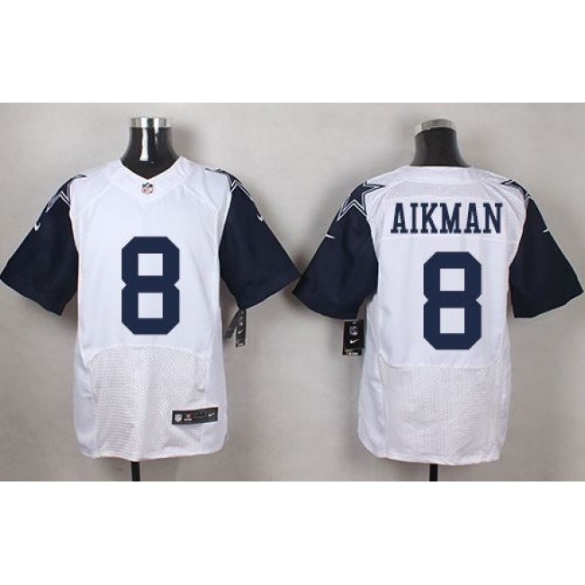 Nike Cowboys #8 Troy Aikman White Men's Stitched NFL Elite Rush Jersey