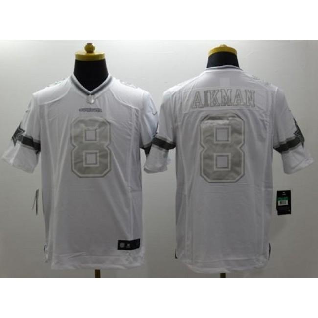 Nike Cowboys #8 Troy Aikman White Men's Stitched NFL Limited Platinum Jersey
