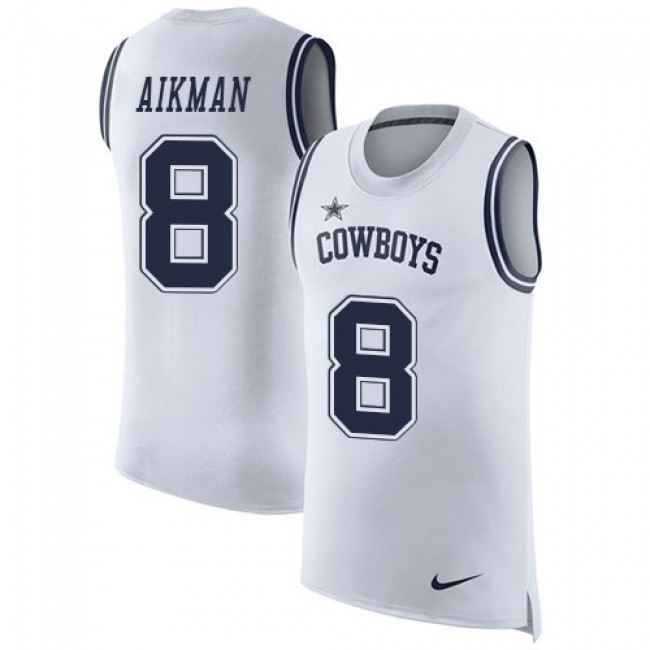 Nike Cowboys #8 Troy Aikman White Men's Stitched NFL Limited Rush Tank Top Jersey