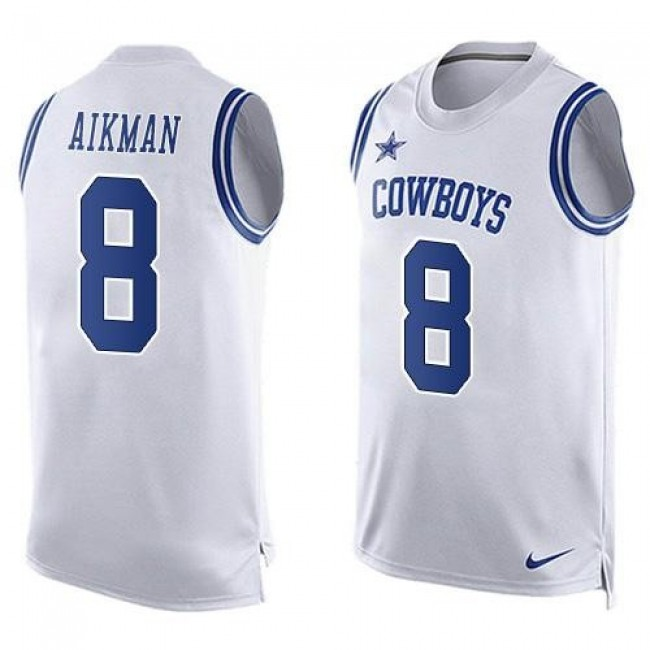 Nike Cowboys #8 Troy Aikman White Men's Stitched NFL Limited Tank Top Jersey