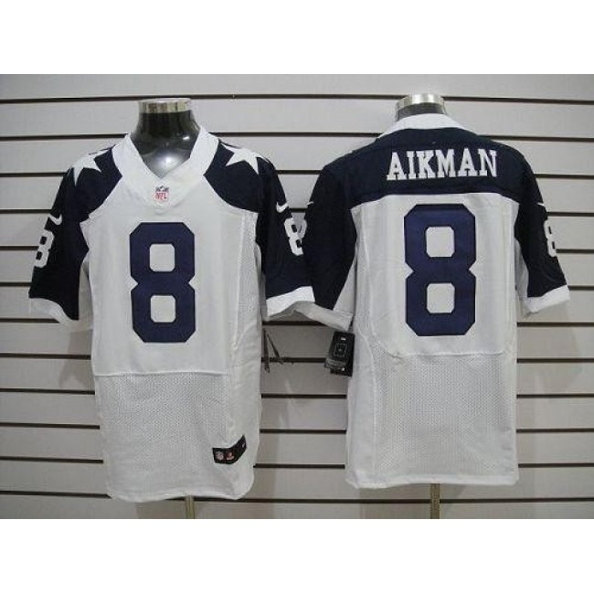 Nike Cowboys #8 Troy Aikman White Thanksgiving Throwback Men's Stitched NFL Elite Jersey