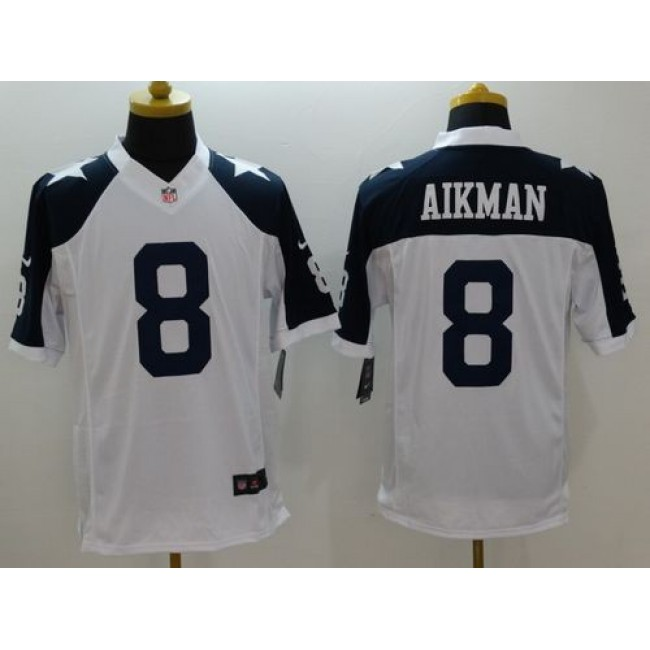 Nike Cowboys #8 Troy Aikman White Thanksgiving Throwback Men's Stitched NFL Limited Jersey