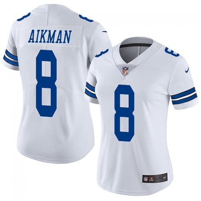 Women's Cowboys #8 Troy Aikman White Stitched NFL Vapor Untouchable Limited Jersey