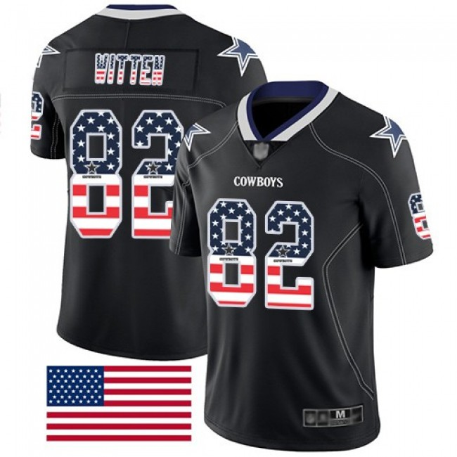 Nike Cowboys #82 Jason Witten Black Men's Stitched NFL Limited Rush USA Flag Jersey