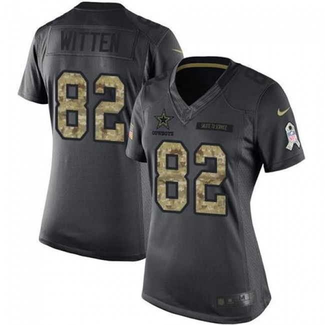 Women's Cowboys #82 Jason Witten Black Stitched NFL Limited 2016 Salute to Service Jersey