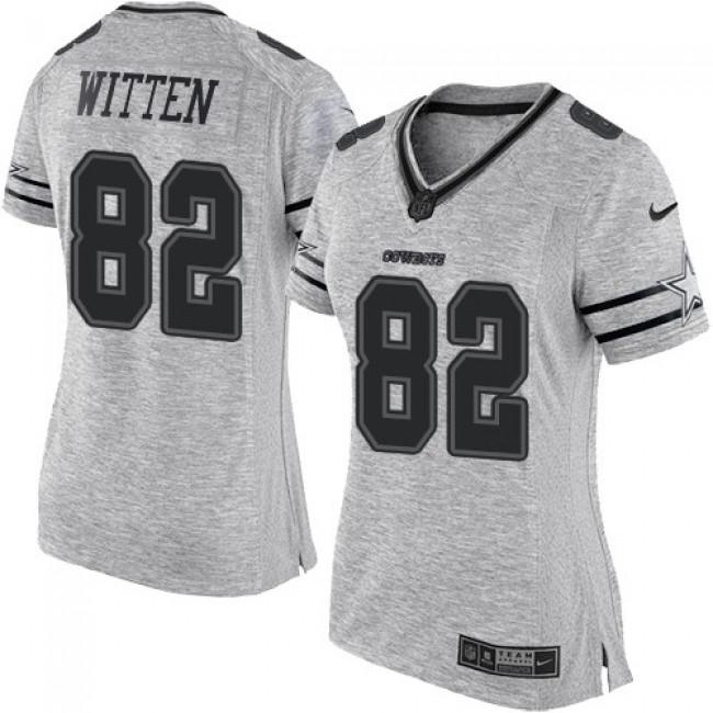 Women's Cowboys #82 Jason Witten Gray Stitched NFL Limited Gridiron Gray II Jersey