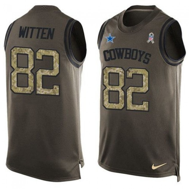 Nike Cowboys #82 Jason Witten Green Men's Stitched NFL Limited Salute To Service Tank Top Jersey