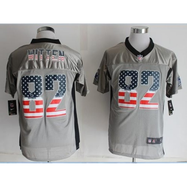 Nike Cowboys #82 Jason Witten Grey Men's Stitched NFL Elite USA Flag Fashion Jersey