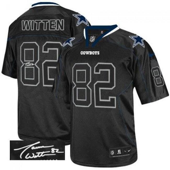 Nike Cowboys #82 Jason Witten Lights Out Black Men's Stitched NFL Elite Autographed Jersey