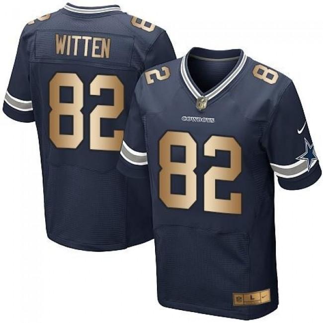Nike Cowboys #82 Jason Witten Navy Blue Team Color Men's Stitched NFL Elite Gold Jersey