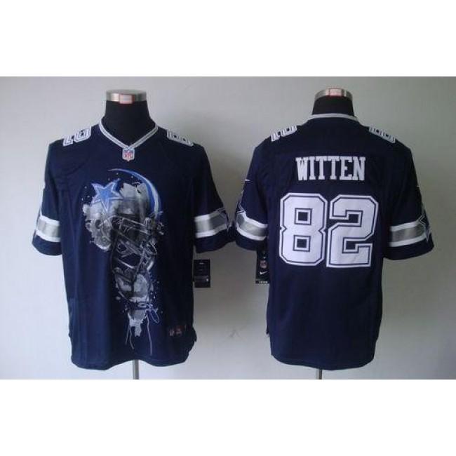 Nike Cowboys #82 Jason Witten Navy Blue Team Color Men's Stitched NFL Helmet Tri-Blend Limited Jersey