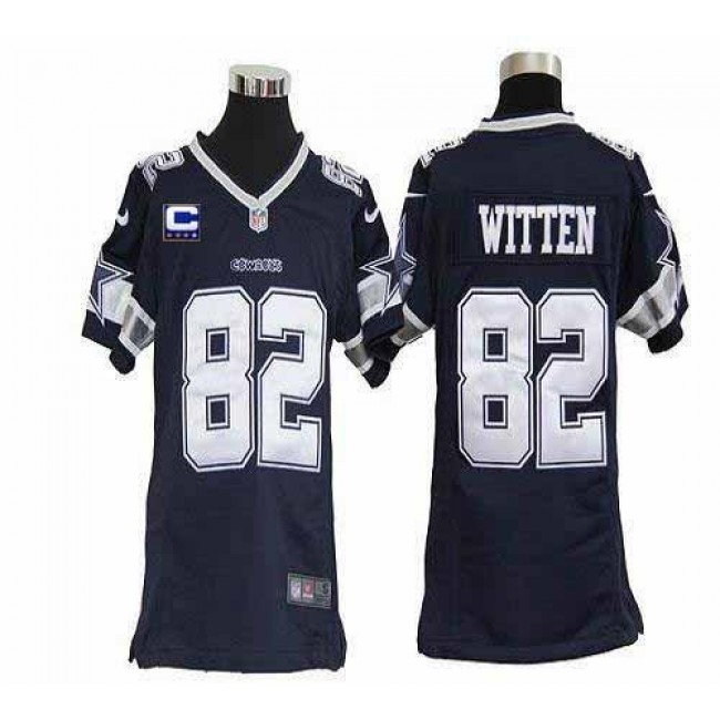 Dallas Cowboys #82 Jason Witten Navy Blue Team Color With C Patch Youth Stitched NFL Elite Jersey