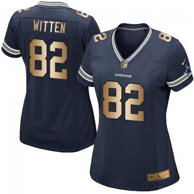 Women's Cowboys #82 Jason Witten Navy Blue Team Color Stitched NFL Elite Gold Jersey