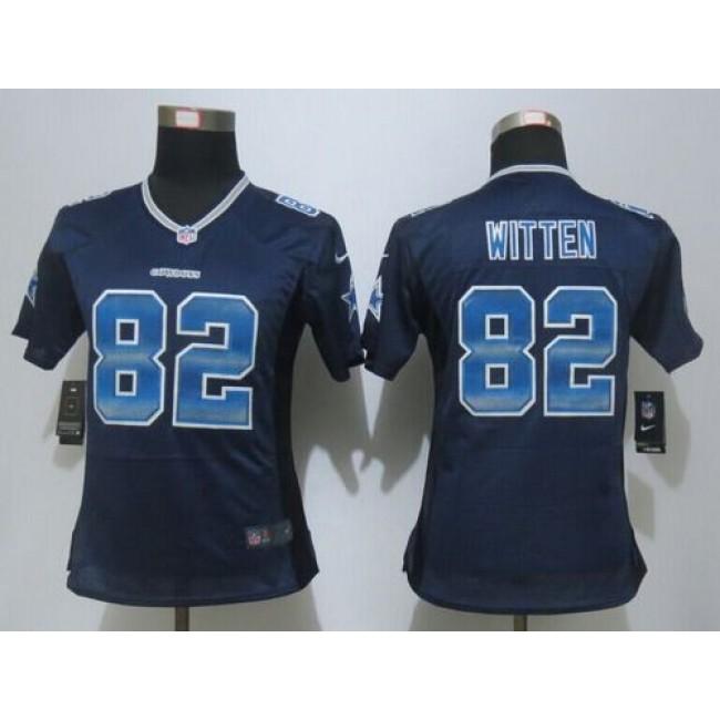 Women's Cowboys #82 Jason Witten Navy Blue Team Color Stitched NFL Elite Strobe Jersey