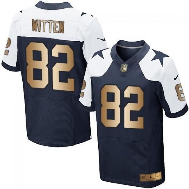 Nike Cowboys #82 Jason Witten Navy Blue Thanksgiving Throwback Men's Stitched NFL Elite Gold Jersey