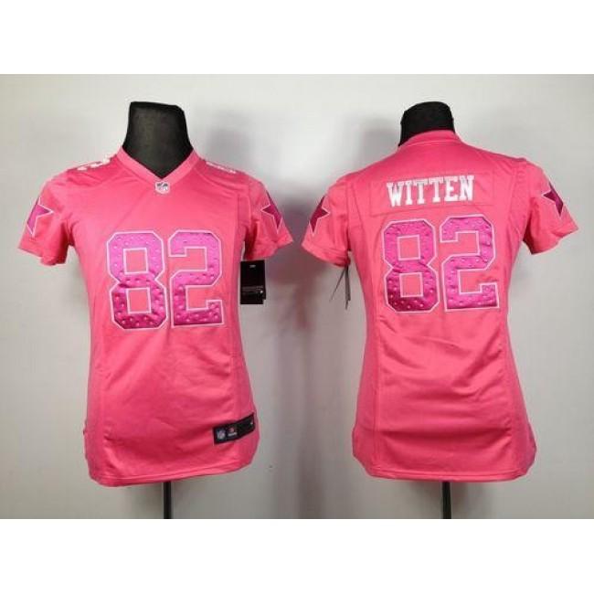 Women's Cowboys #82 Jason Witten Pink Sweetheart Stitched NFL Elite Jersey
