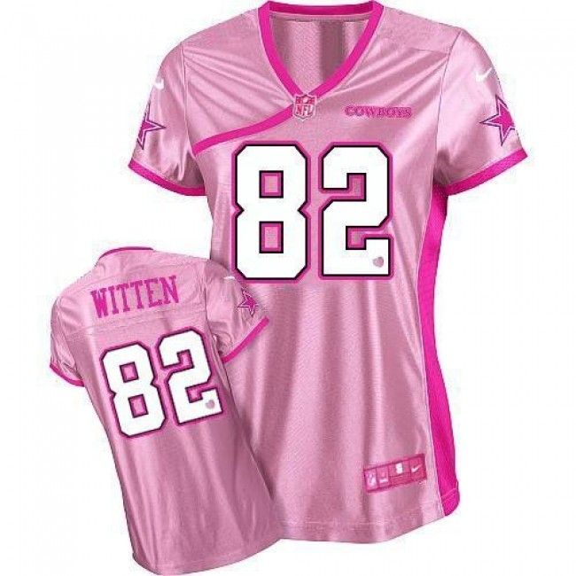 Women's Cowboys #82 Jason Witten Pink Be Luv'd Stitched NFL Elite Jersey