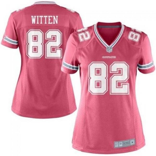 Women's Cowboys #82 Jason Witten Pink Stitched NFL Elite Jersey