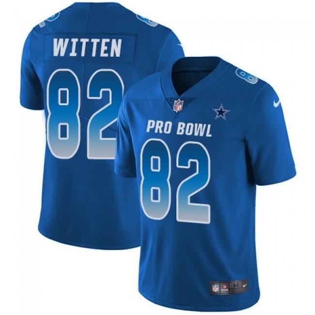 Nike Cowboys #82 Jason Witten Royal Men's Stitched NFL Limited NFC 2018 Pro Bowl Jersey