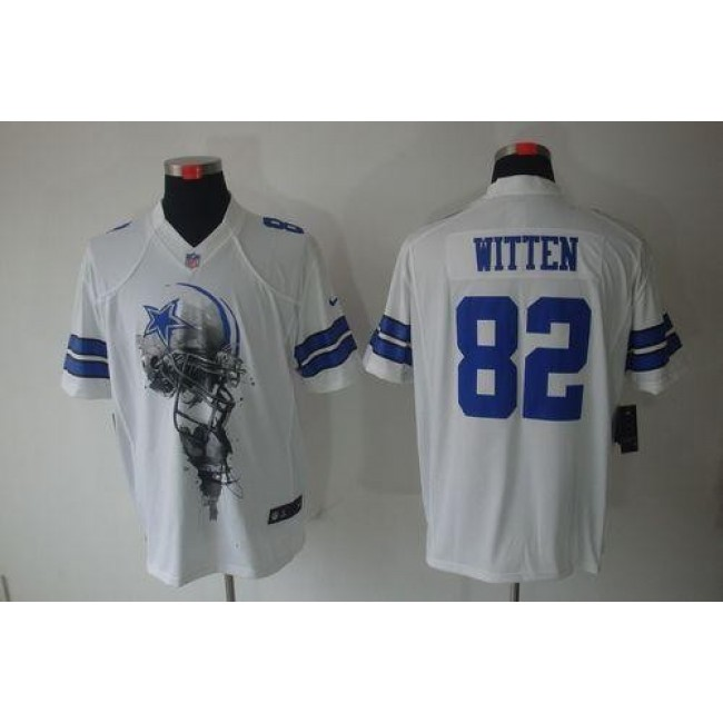 Nike Cowboys #82 Jason Witten White Men's Stitched NFL Helmet Tri-Blend Limited Jersey