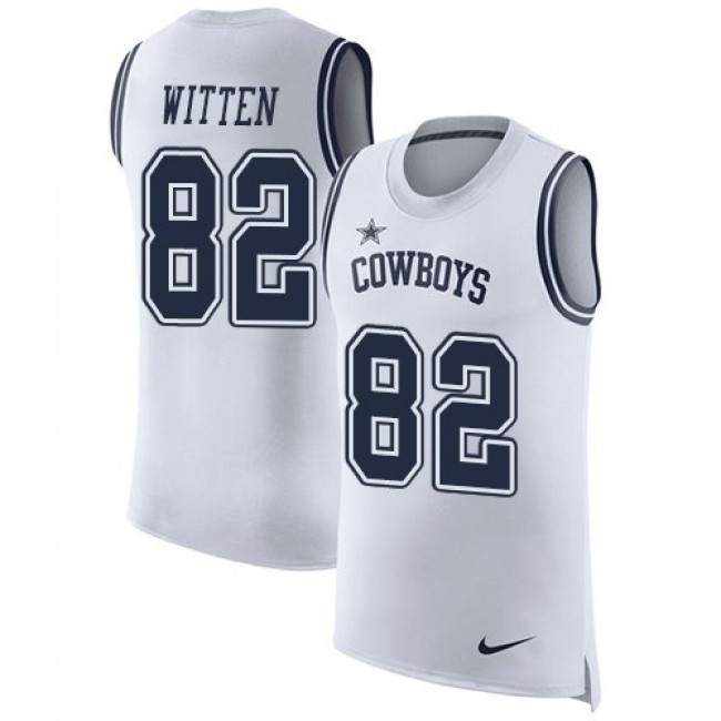 Nike Cowboys #82 Jason Witten White Men's Stitched NFL Limited Rush Tank Top Jersey