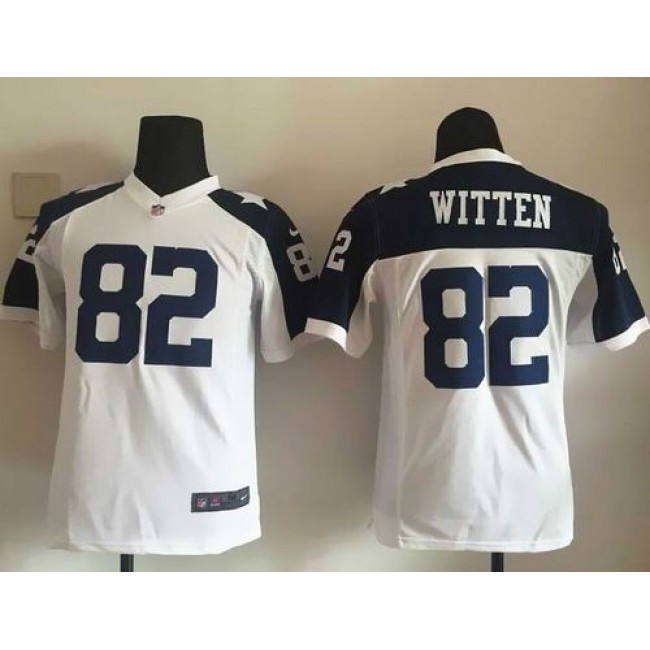 Dallas Cowboys #82 Jason Witten White Thanksgiving Youth Throwback Stitched NFL Elite Jersey