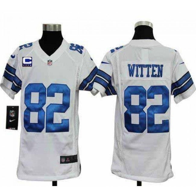 Dallas Cowboys #82 Jason Witten White With C Patch Youth Stitched NFL Elite Jersey