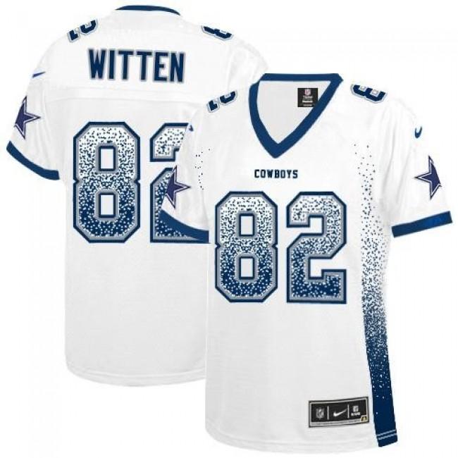 Women's Cowboys #82 Jason Witten White Stitched NFL Elite Drift Jersey