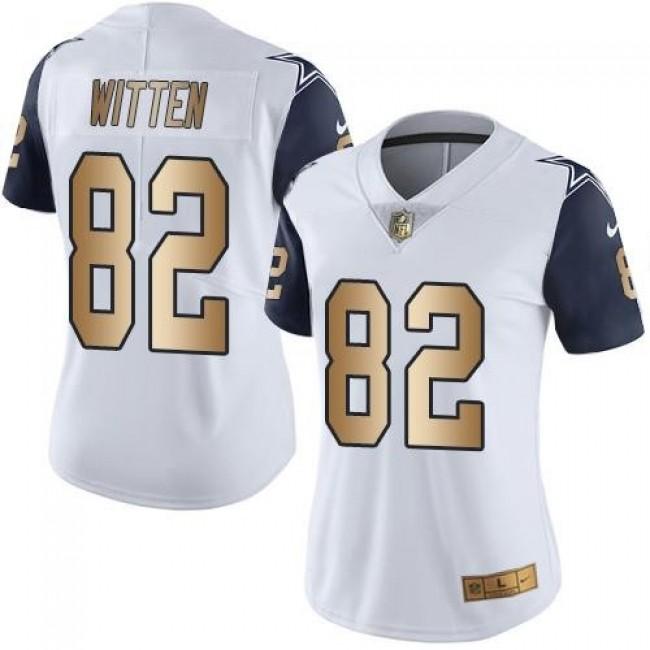 Women's Cowboys #82 Jason Witten White Stitched NFL Limited Gold Rush Jersey