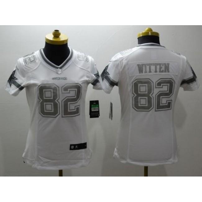 Women's Cowboys #82 Jason Witten White Stitched NFL Limited Platinum Jersey