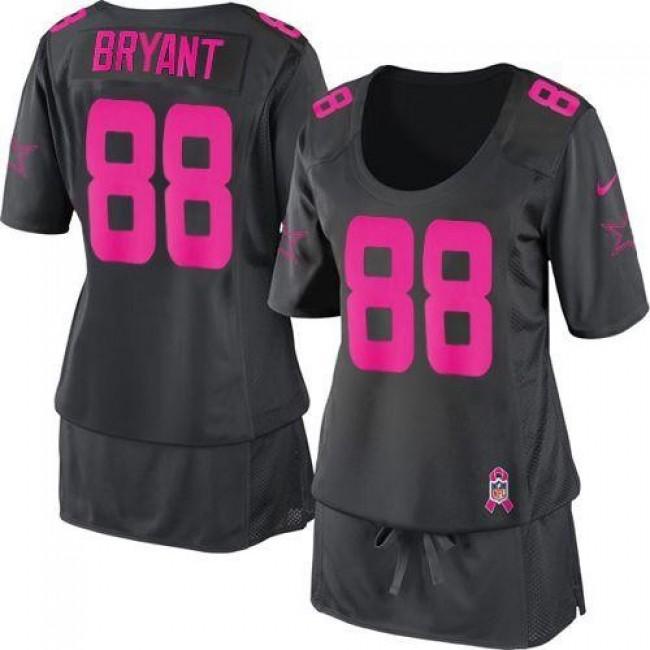 Women's Cowboys #88 Dez Bryant Dark Grey Breast Cancer Awareness Stitched NFL Elite Jersey