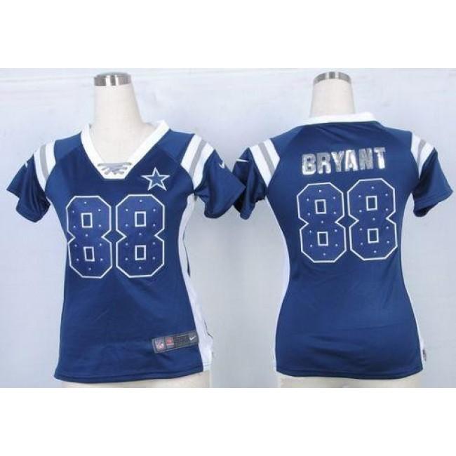 Women's Cowboys #88 Dez Bryant Navy Blue Team Color Stitched NFL Elite Draft Him Shimmer Jersey